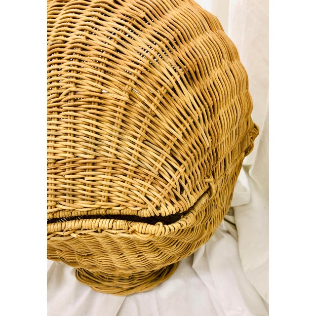 Vintage Woven Wicker Clam Shell Basket For Sale - Image 10 of 13