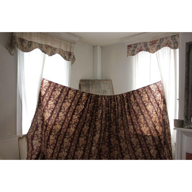 Antique 1870s French Large Printed Cotton Madder Brown Passementerie Bed Curtain For Sale - Image 6 of 9