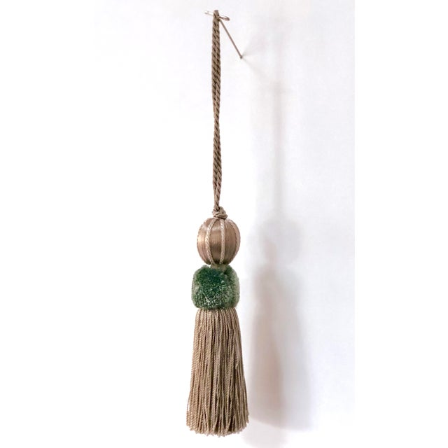 """Shabby Chic Sage & Taupe Beaded Key Tassel - 4.5"""" For Sale - Image 3 of 8"""