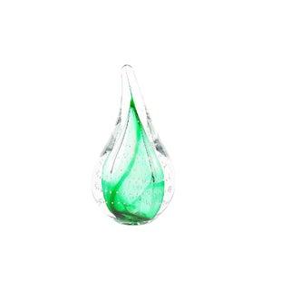 1980s Vintage Adam Jablonski Art Glass Controlled Bubble Green Teardrop Paperweight For Sale