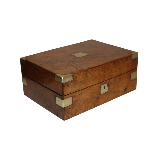 Burl Walnut Box With Brass Accents. English 19th Century For Sale