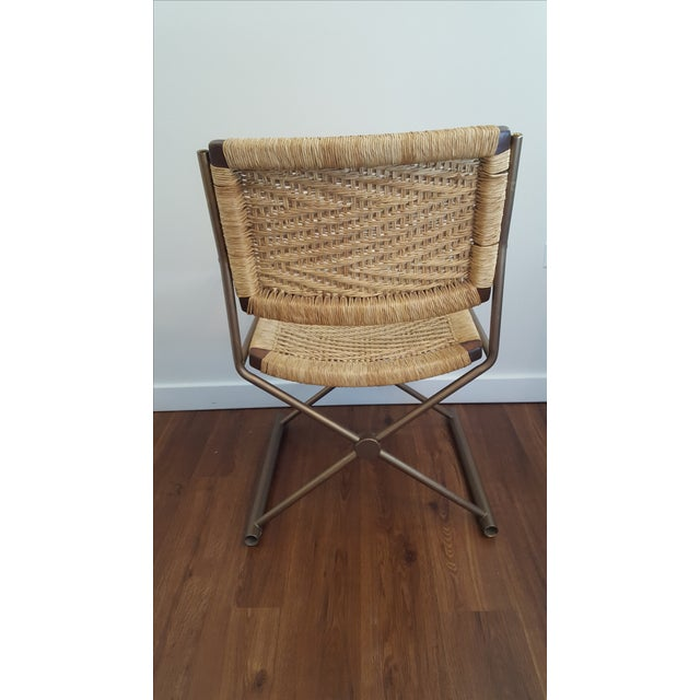 Hollywood Regency Brass Rattan X-Form Director's Chair - Image 4 of 5