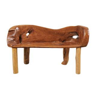 Petite Sized Natural Teak Wood Bench With Live Edge For Sale