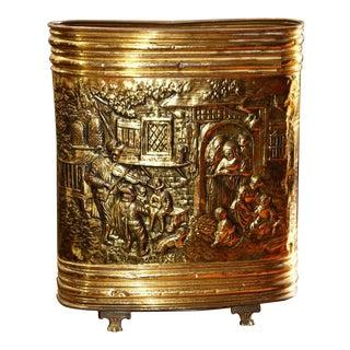 Antique European Style Repousse Artwork Brass Umbrella Stand