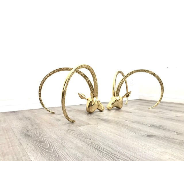 Campaign Polished Brass Ibex Ram's Head Glass Top Coffee Table For Sale - Image 3 of 10