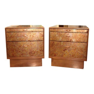 Patinated Copper Sheet Clad Nightstands- A Pair For Sale
