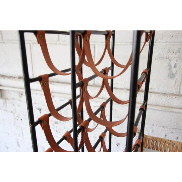 Arthur Umanoff Mid-Century Modern Leather and Iron 40-Bottle Wine Rack, Two Available For Sale - Image 10 of 13