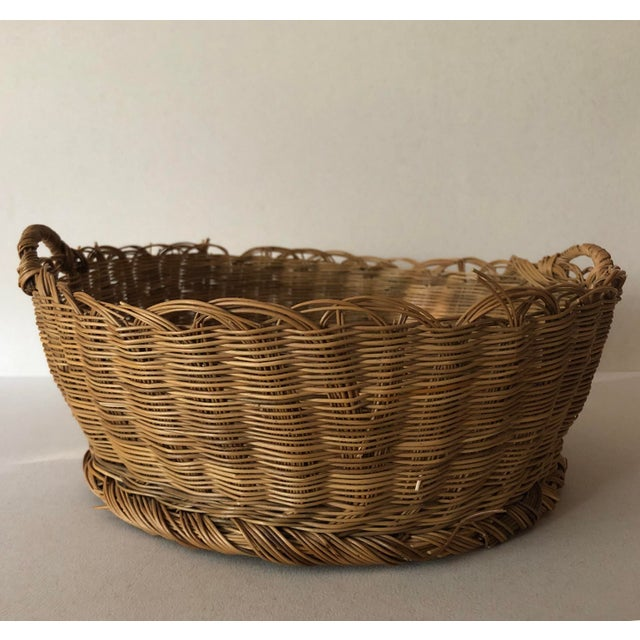 Brown Antique Basket With Handles For Sale - Image 8 of 8