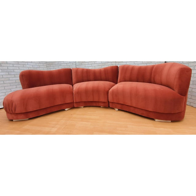 Mid Century Modern Vladimir Kagan for Directional Three Piece Curved Black Sectional Sofa For Sale - Image 12 of 12