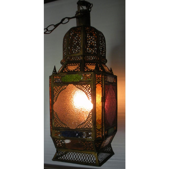 Moroccan Pierced Brass Hanging Lantern For Sale - Image 4 of 12