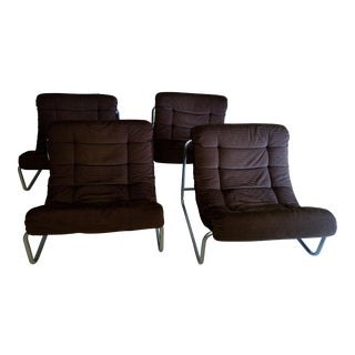 Vintage Chrome & Corduroy Upholstered Chairs - Set of 4 For Sale