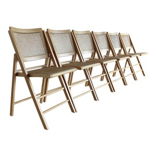 Organic Modern Sculptural 1970s Mid Century Modern Italian Rattan Cane and Beech Folding Dining Chairs - Set of 6 For Sale