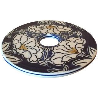 Vintage Artisan Blue & White Floral Ceramic Trivet