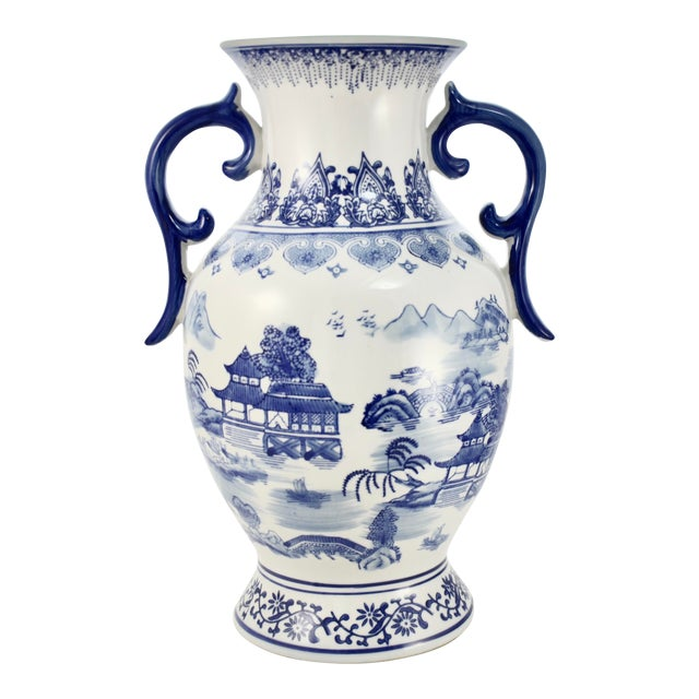 Chinoiserie Blue & White Urn For Sale