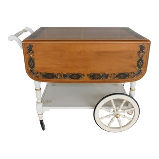 Ethan Allen Stencil Decorated Hitchcock Style Rolling Drop Side Serving Cart For Sale