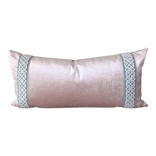 Scalamandre Trim Pink Velvet Pillow - Image 1 of 6