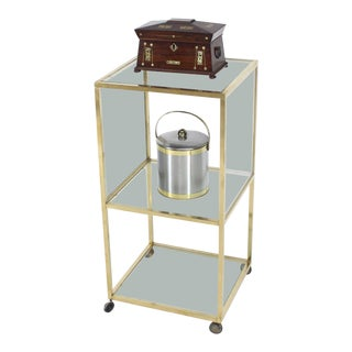 Brass Square Profile Glass Three-Tier Cube Shape Cart Wheels Display Cabinet For Sale