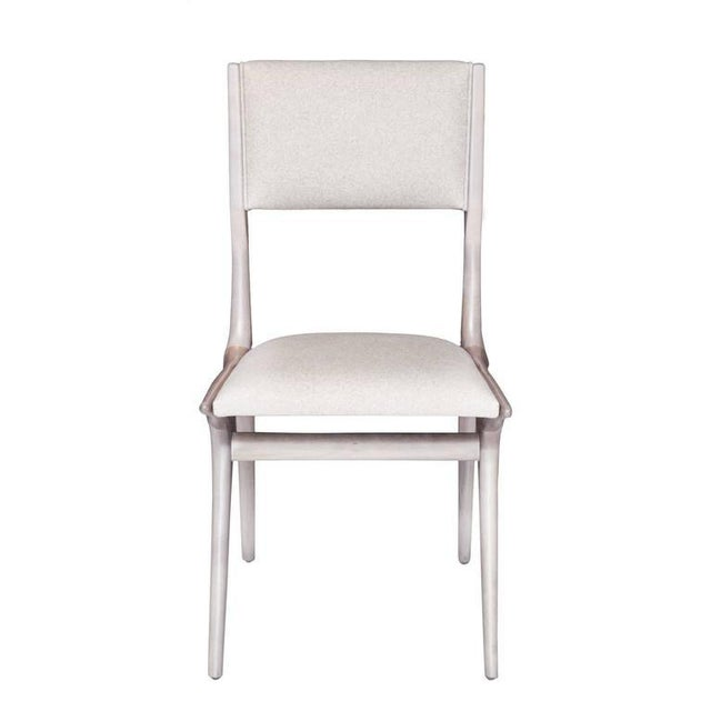 """Set of ten Boone dining chairs. Maple dining chair in grey bleached finish. Seat height 18.5"""". Seat depth 16"""". COM..."""