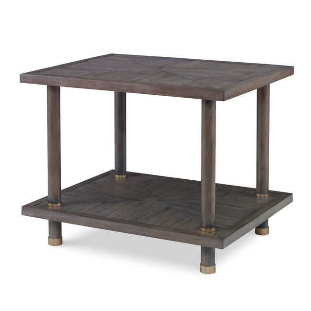 Contemporary Century Furniture Biscayne Side Table, Mink Grey Finish For Sale - Image 3 of 3