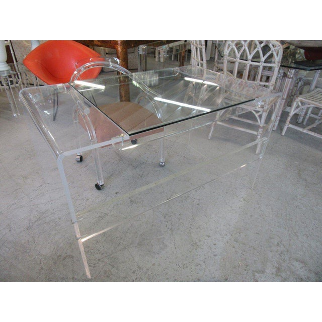 Lucite & Glass Lucite Waterfall Desk - Image 2 of 8