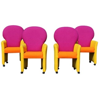 1970s Memphis Milo Baughman for Thayer Coggin Prisma Collection Armchairs - Set of 4 For Sale