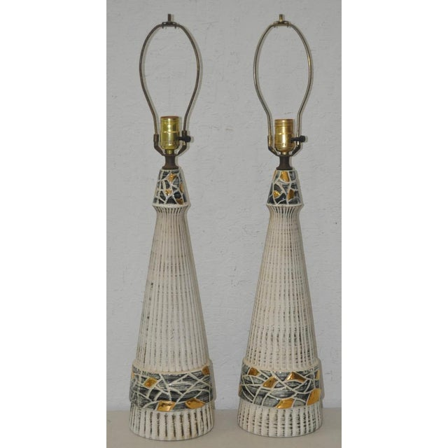 Mid-Century Glazed Ceramic Table Lamps - A Pair - Image 2 of 4