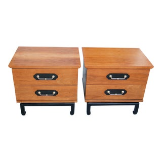 American of Martinsville Walnut & Oak Night Stands - a Pair