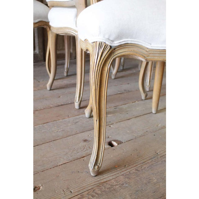 Set of Six Wood Louis XV Style Dining Chairs in Natural Belgian Linen For Sale - Image 10 of 11