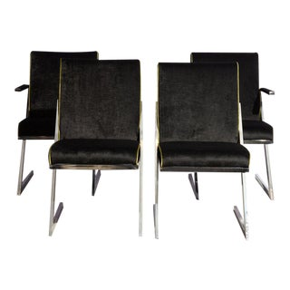 Black Velvet Dining Chairs - Set of 4 For Sale