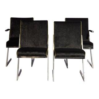 Set of 4 Black Velvet Dining Chairs For Sale