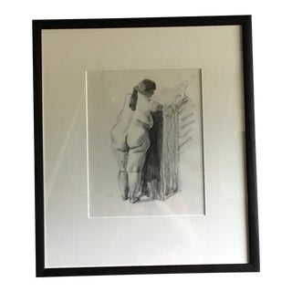 Contemporary Figurative Female Nude Charcoal Drawing, Framed For Sale