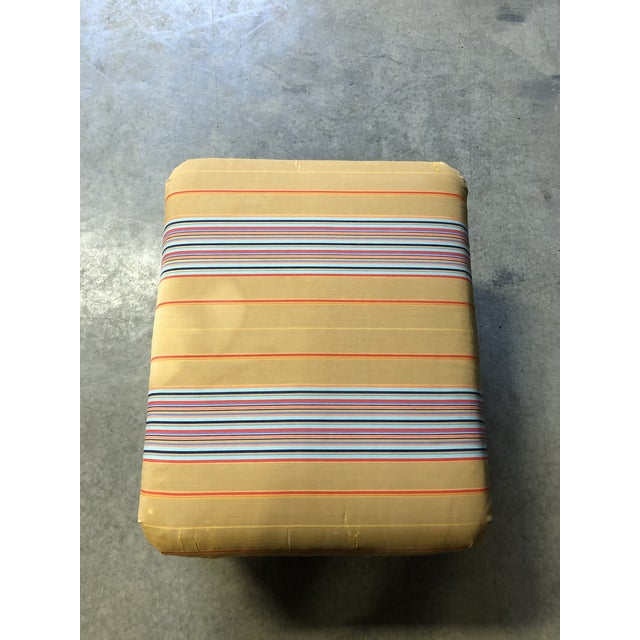 Wicker Ottoman/FootStool With Ball Feet and Original Striped Silk Cushion For Sale In New York - Image 6 of 7