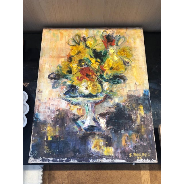 Mid 20th Century Yellow Floral Still Life Painting For Sale - Image 5 of 5