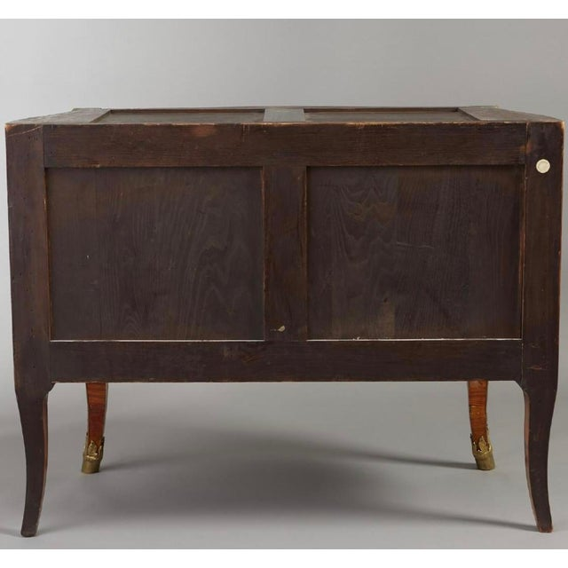 Stone Ormolu Mounted Tulipwood and Amaranth Marquetry Commode For Sale - Image 7 of 13