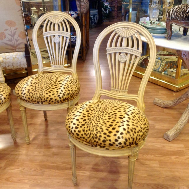 Wood Set of 4 Jansen Style Balloon Back Chairs For Sale - Image 7 of 12