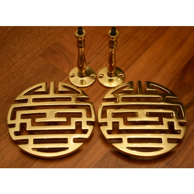 Chinoiserie Brass Longevity Symbol Drapery Tiebacks - A Pair For Sale In Dallas - Image 6 of 7