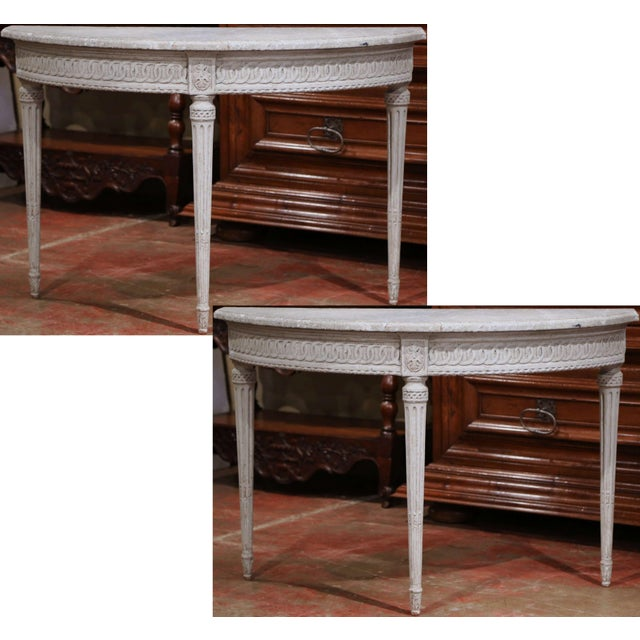 Pair of 19th Century Louis XVI Carved Painted Demi-Lune Console Tables For Sale - Image 9 of 9