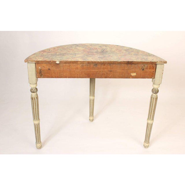 Louis Philippe Painted Demilune Console Table For Sale - Image 9 of 10