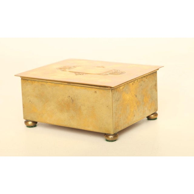 Art Deco Wmf Art Deco German Hand Hammered Brass/ Wood Box For Sale - Image 3 of 6