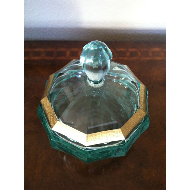 Green Moser Crystal Candy Dish, Signed - Image 3 of 7