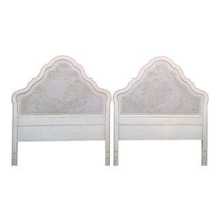 Vintage Cane Curvy Pagoda Style Regency Oatmeal Twin Headboards- a Pair For Sale
