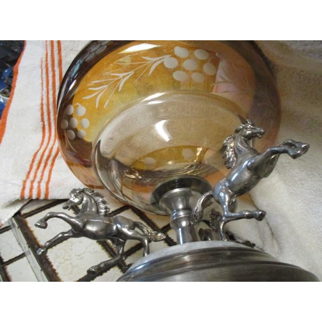 Metal Antique Horses on a Bohemian Metal Mounted Glass Epergne For Sale - Image 7 of 8