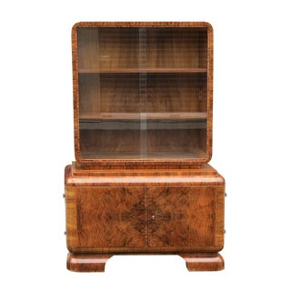 1930s Vintage French Art Deco Burled Walnut Cabinet For Sale