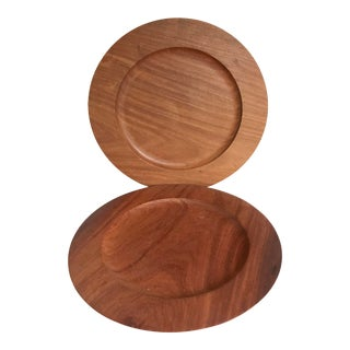 Pair of Wooden Plates Made in France For Sale