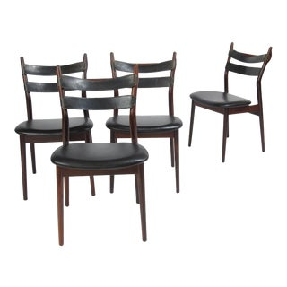 Heldge Sibast Danish Rosewood Dining Chairs With Leather Straps