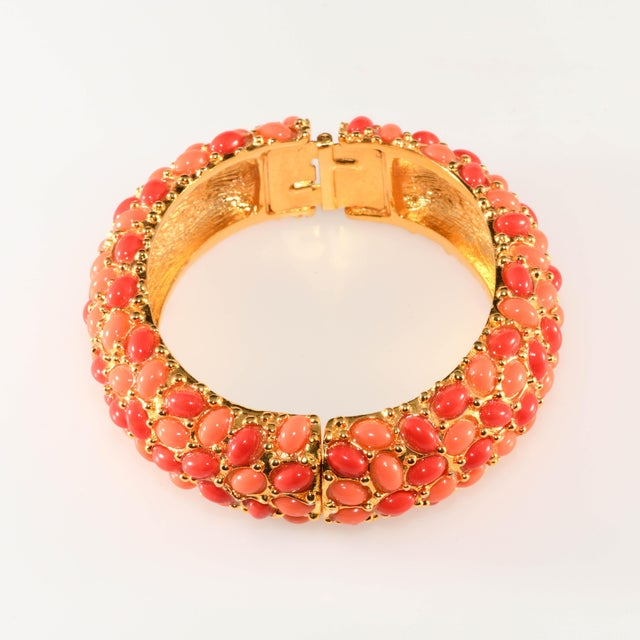 Kenneth Jay Lane Kenneth Jay Lane Coral Glass Cabochon Hinged Bangle Bracelet For Sale - Image 4 of 5