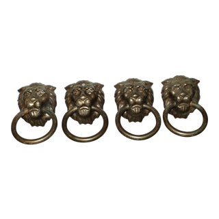 Antique Vintage French Lion Head Drawer Pulls - Set of 4 For Sale