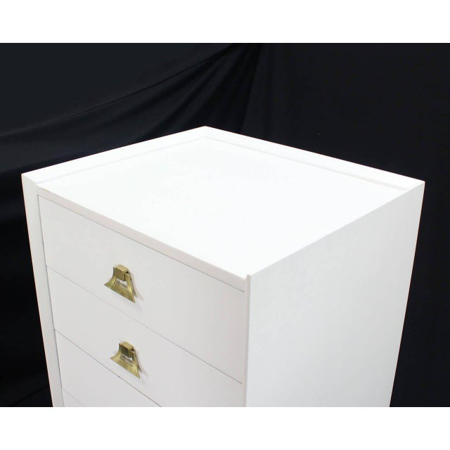Brass Mid-Century Modern White Lacquer Brass Pulls High Chest Stands - a Pair For Sale - Image 7 of 10