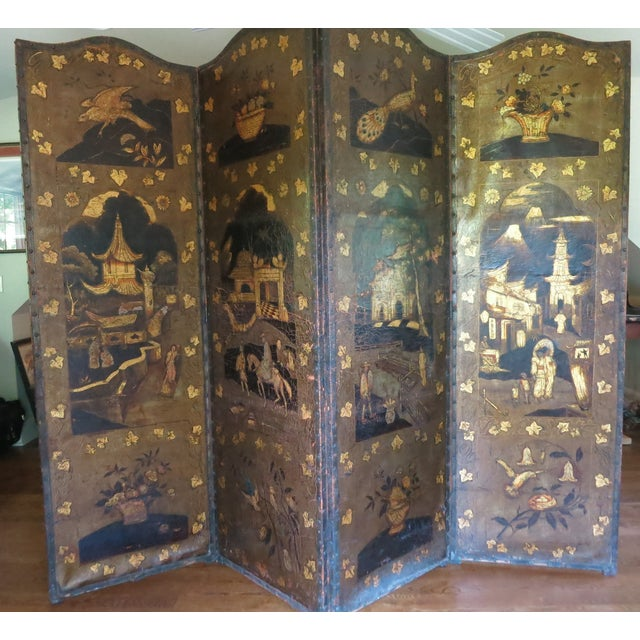 """Antique English 19th century leather screen, embossed and gilded. Four part each measuring 24"""" x 77.75"""". There is some..."""