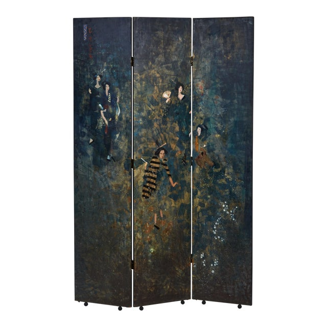Paravento Screen Made by Eugene Klementieff in the Japonisme Style For Sale